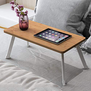 Zhongyi Folding table laptop bed tray table breakfast bed tray table learning folding table study table bed small table camping convenient table suitable for sofa bed floor Color : Bamboo