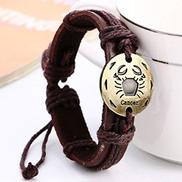 FOERWEI Constellation Bracelet Virgo Sagittarius Aquarius Scorpio Libra Capricorn 12 Constellation Bracelet Men Braided Leather Bracelets Women