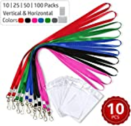 Stationery King Durably Woven Lanyards & ID Badge Holders Premium Quality, Waterproof & Dustproof For Moms, Teachers, Tours, Events, Businesses, Cruises etc 10 25 50 100 Packs Vertical 10 Pack