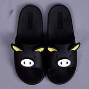 ZJJWYCG Slippers Female Slippers Female Summer Cute Home Bathroom Non-slip Bathroom Sandals And Slippers 14.5 Black