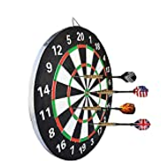 ZZKJNIU Dart Target Package - Home Sporting Goods, Thick Darts Target Needle-Type Target Students Can Practice On Both Sides, Including 9 Darts,35cm
