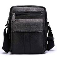 S.Y.MMYS Crossbody Bag New Men's Leather Shoulder Bag Leisure Bag Korean Multi-functional Fashion Cross-body Bag Messenger bag Color : Black, Size : S