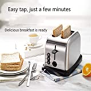 XRZY 2 Toasters, Stainless Steel Fully Automatic 2 Piece Home Wide Slot Breakfast Machine Removable Debris Tray,Red