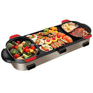 NILINMA Korean Barbecue Hot Pot, Multifunction Doublepot Electric Baking Pan with Three Controls Temperaturecontrolled Surface Is Easy to Clean