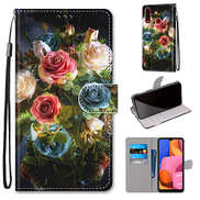 Mylne Full Body Case for Samsung Galaxy M30,Colorful Pattern Design PU Leather Flip Wallet Case Cover with Magnetic Closure Stand Card Slot,Bloom Flower