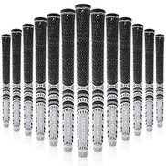 G&CC Multi -Compound Golf Grips, Standard Mid Size All-Weather Control Thread Technology Rubber Combine with Carbon Yard, Anti-Slip-Set of 13 pcs standard grey