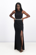 Xscape Illusion Cutout Embellished Halter Gown, Black