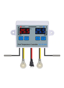 Generic Dual Digital Thermostat Temperature Controller Two Relay Output Thermoregulator for incubator Heating Cooling XK-W1088 - AC110V-220V W1088